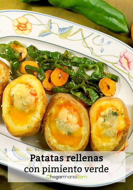 Patatas rellenas con pimiento verde