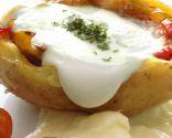 Patatas rellenas de piperrada y huevo