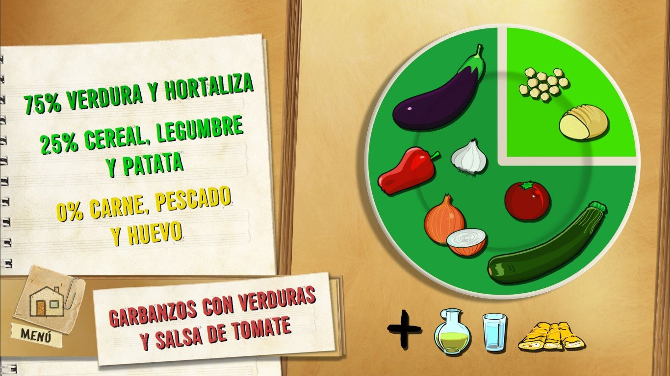 Garbanzos con verduras y salsa de tomate