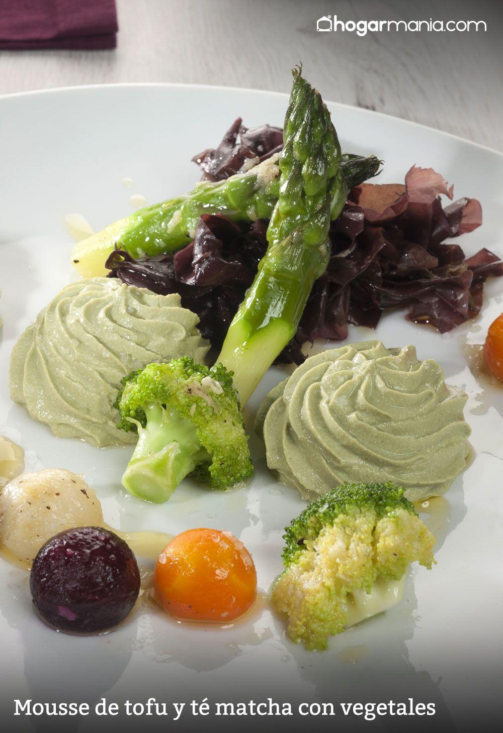 mousse de tofu y té matcha con vegetales