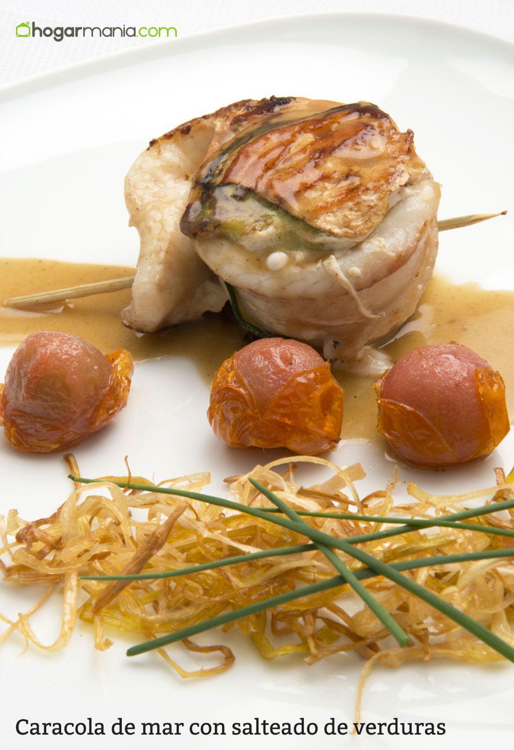 Caracola de mar con salteado de verduras
