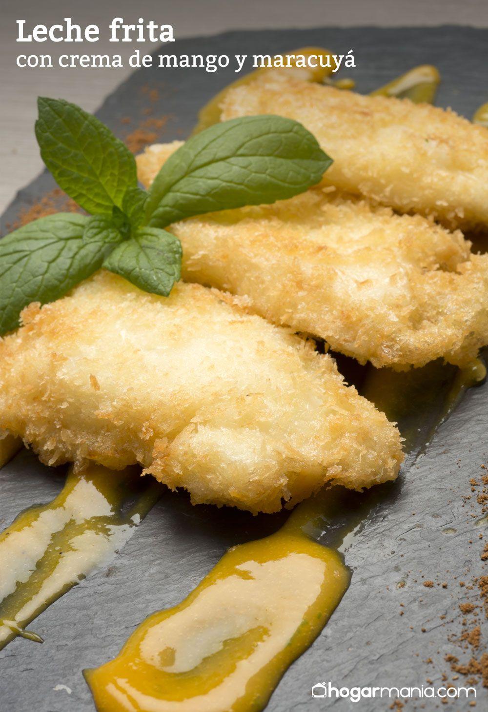 Leche frita con crema de mango y maracuyá