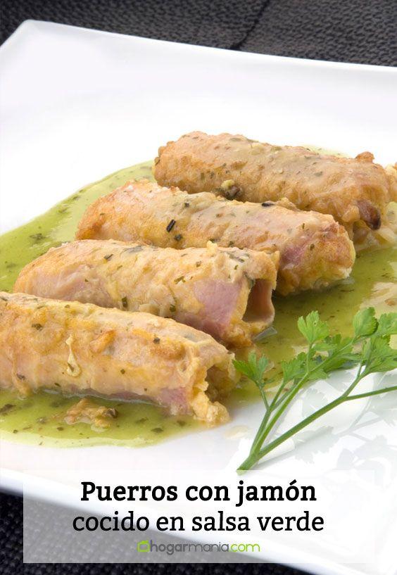 Receta de puerros con jamón cocido en salsa verde
