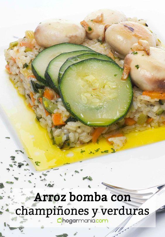 arroz bomba con champiñones y verduras