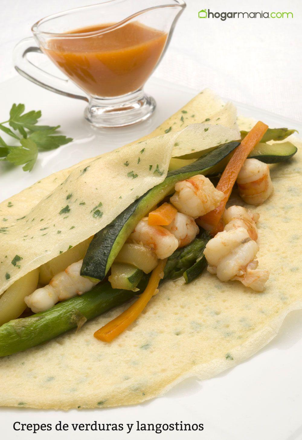 Crepes de verduras y langostinos
