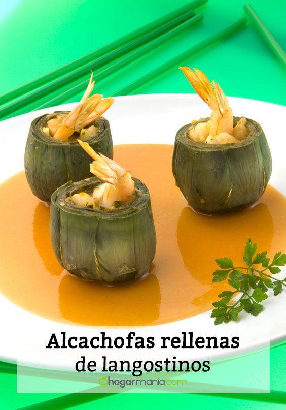 Alcachofas rellenas de langostinos