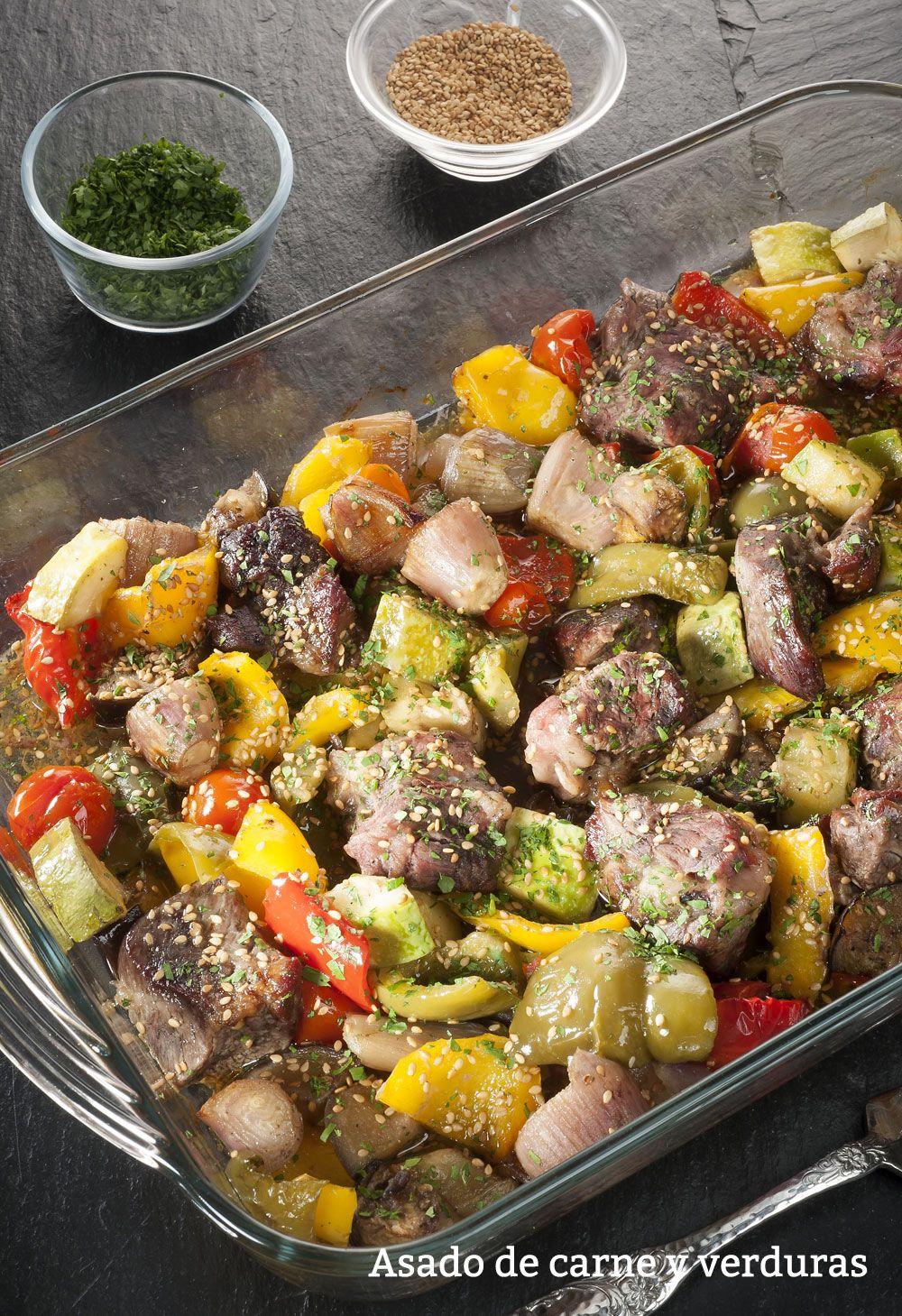 Asado de carne y verduras