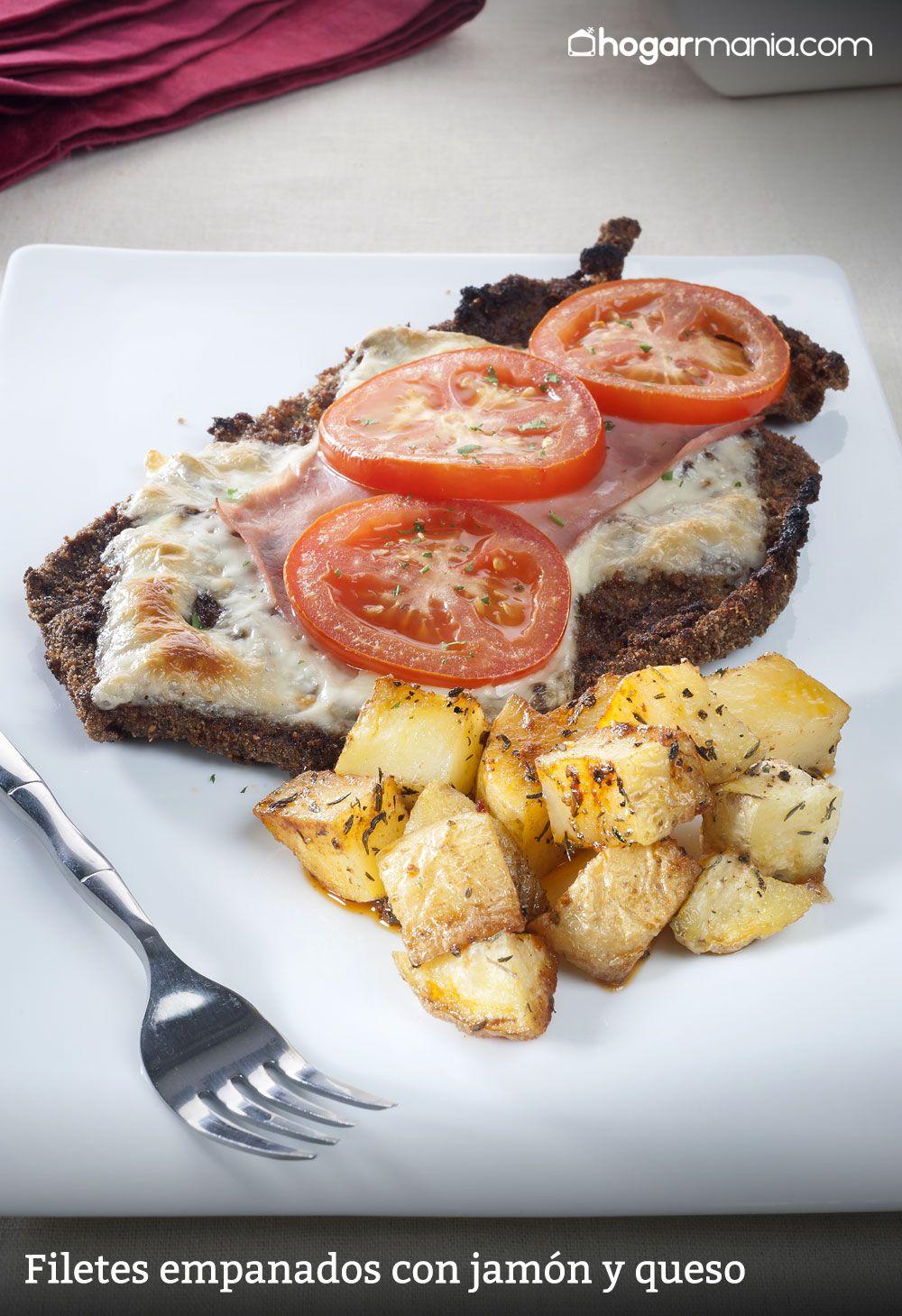 filetes empanados con jamón y queso