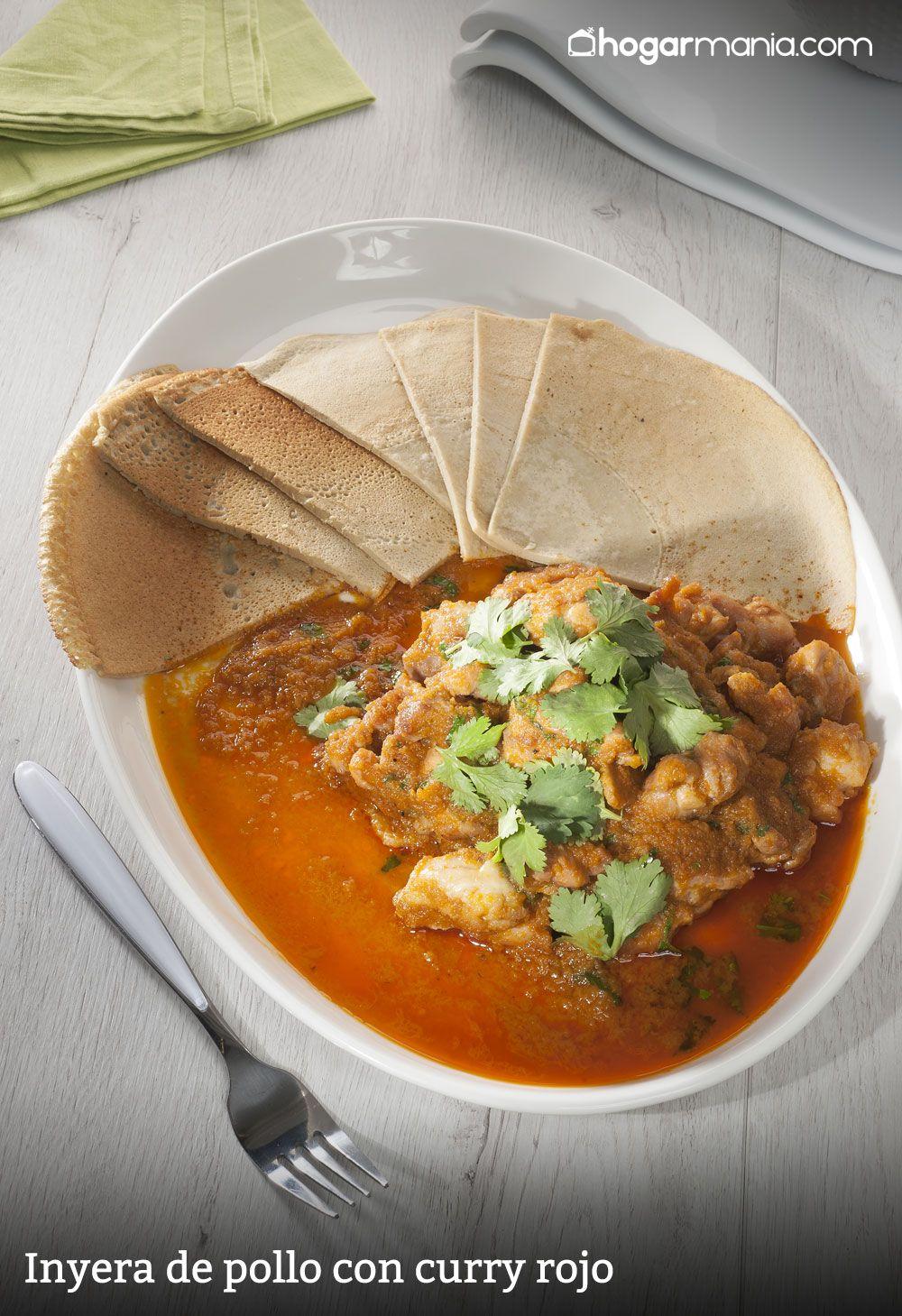 enyera de pollo con curry rojo