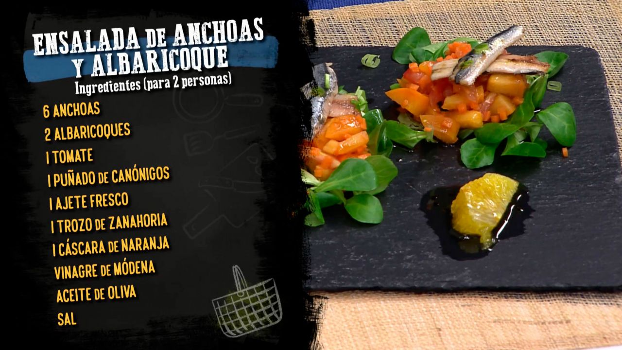 Ensalada de anchoas y albaricoque - Ingredientes