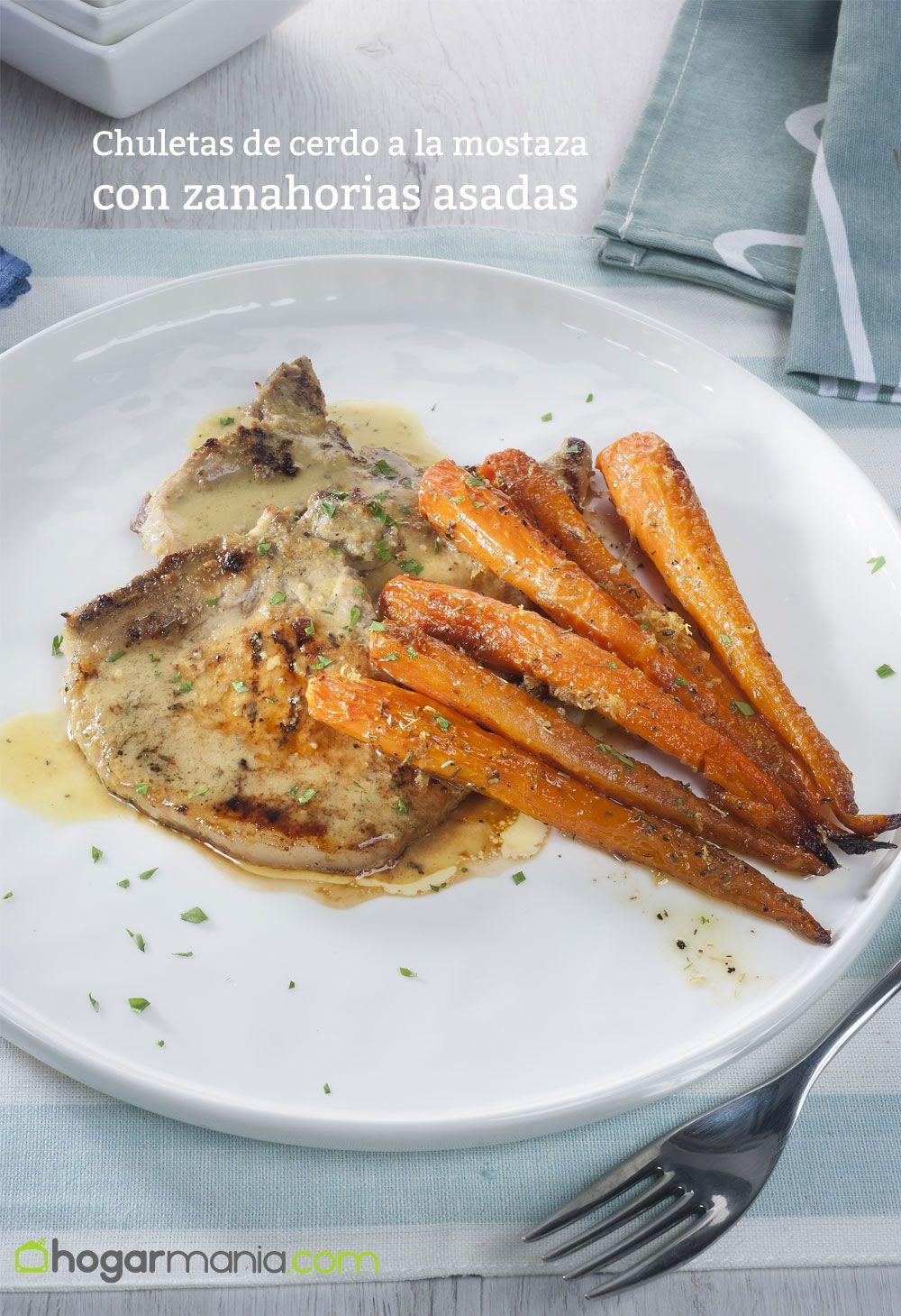 chuletas de cerdo a la mostaza con zanahorias asadas