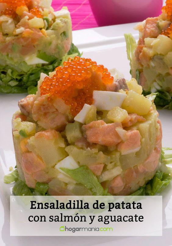 Ensaladilla de patata con salmón y aguacate
