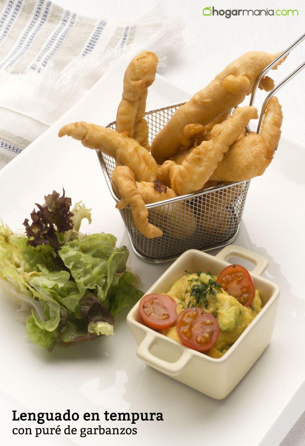 Lenguado en tempura con puré de garbanzos
