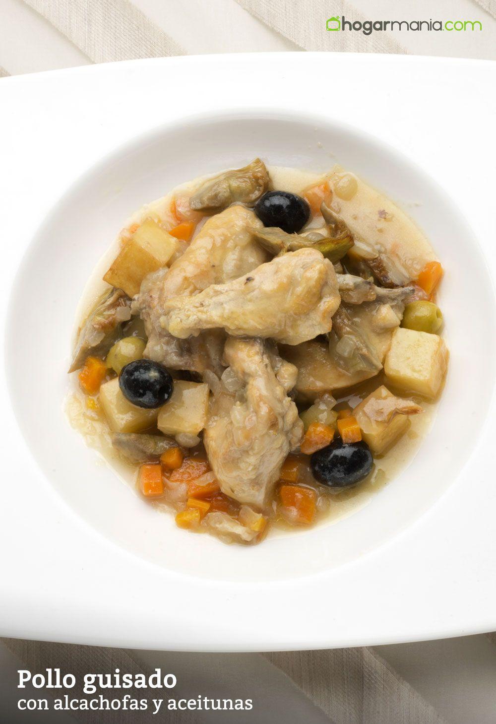 Pollo guisado con aceitunas y alcachofas