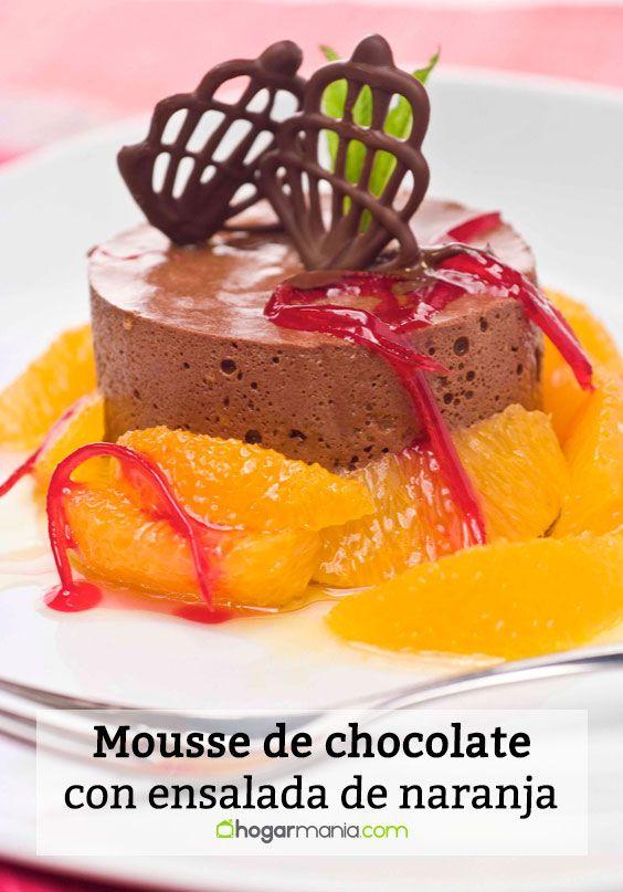 Mousse de chocolate con ensalada de naranja