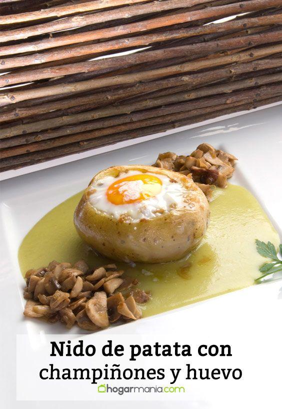 Receta de Nido de patata con champiñones y huevo