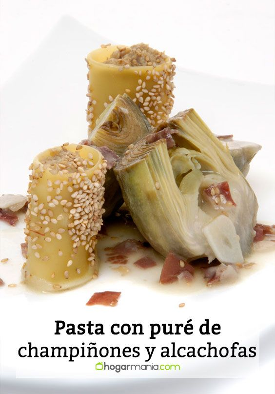 Pasta con puré de champiñones y alcachofas