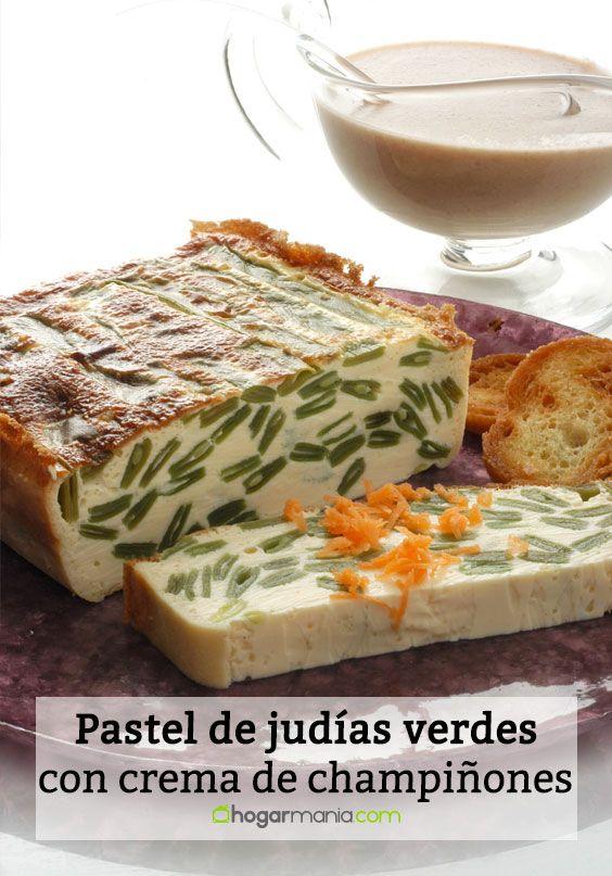 Pastel de judías con crema de champiñones