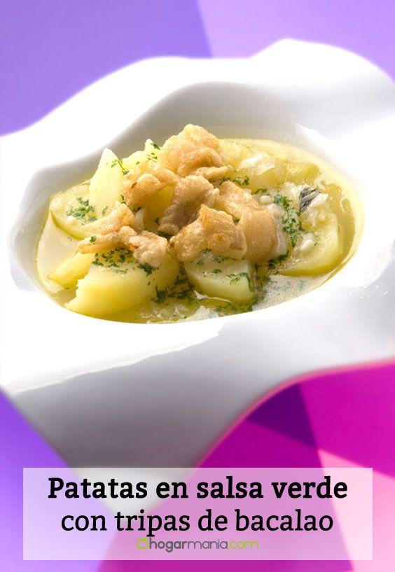 Receta de Patatas en salsa verde con tripas de bacalao