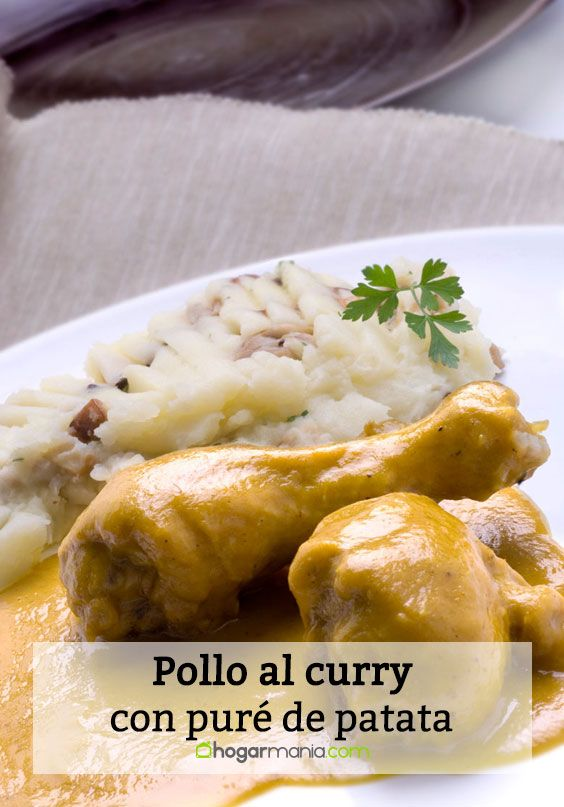 Pollo al curry con puré de patatas