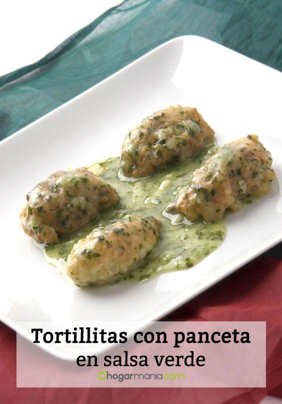 Tortillitas con panceta en salsa verde