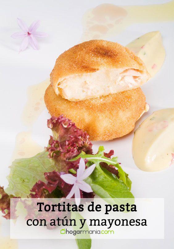 Tortitas de pasta con atún y mayonesa