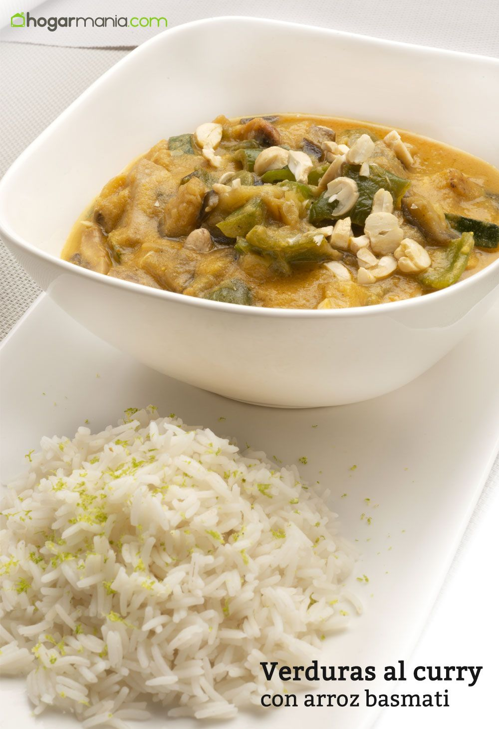 Verduras al curry con arroz basmati