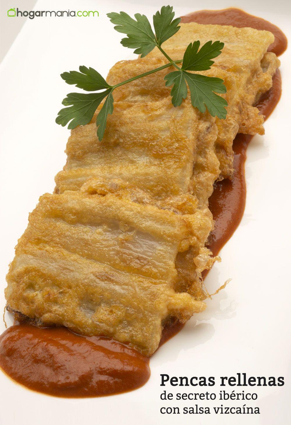 Pencas rellenas de secreto ibérico con salsa vizcaína