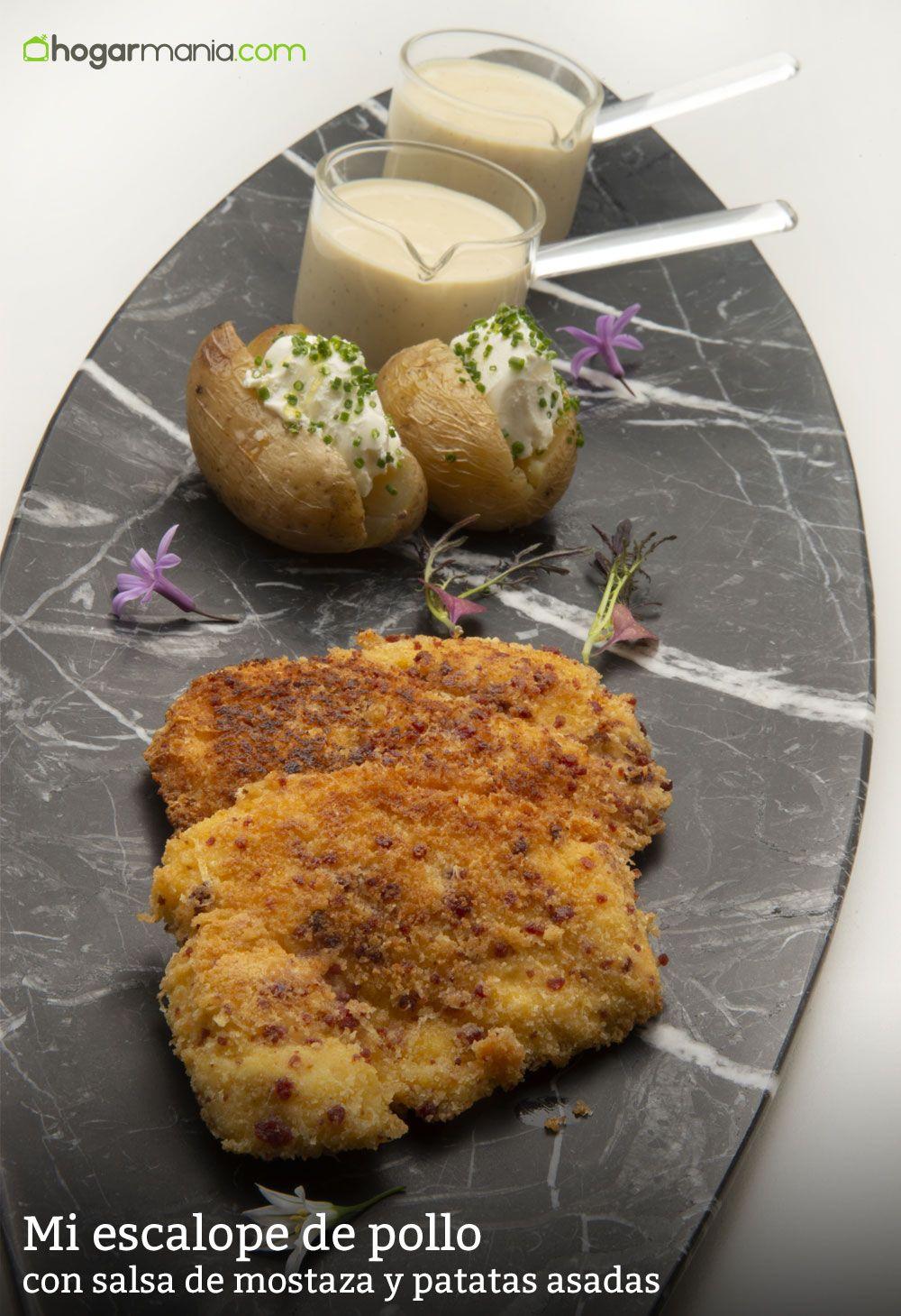 Mi escalope de pollo con salsa de mostaza y patatas asadas