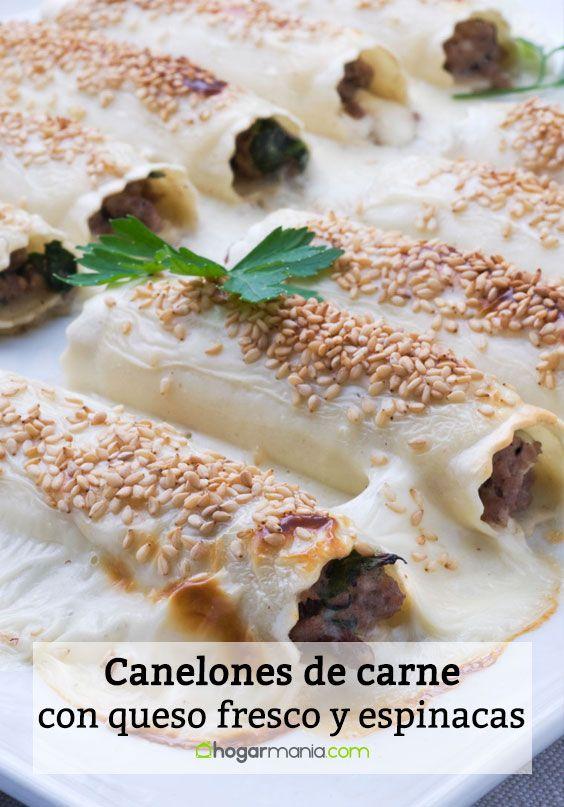 Canelones con queso fresco y espinacas