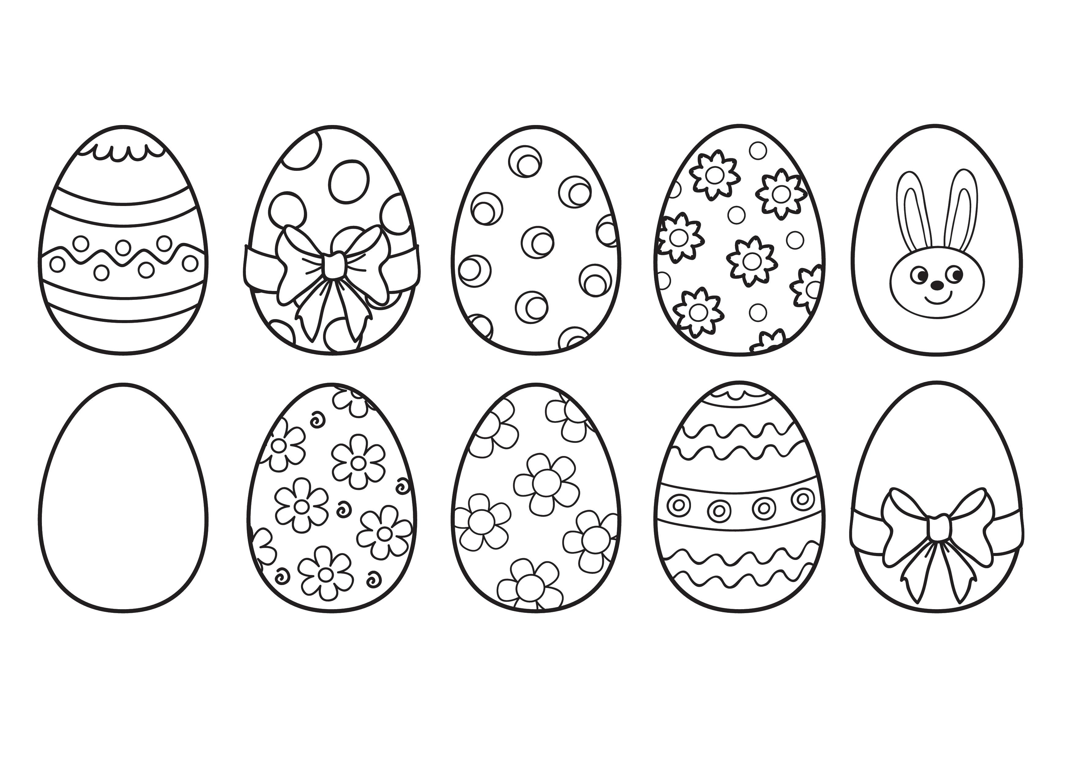 Dibujo De Cesta Simple De Pascua Con Huevos Para Colorear Dibujos