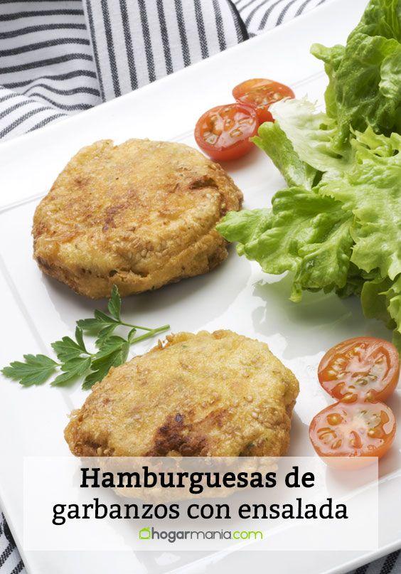 Hamburguesas de garbanzos con ensalada