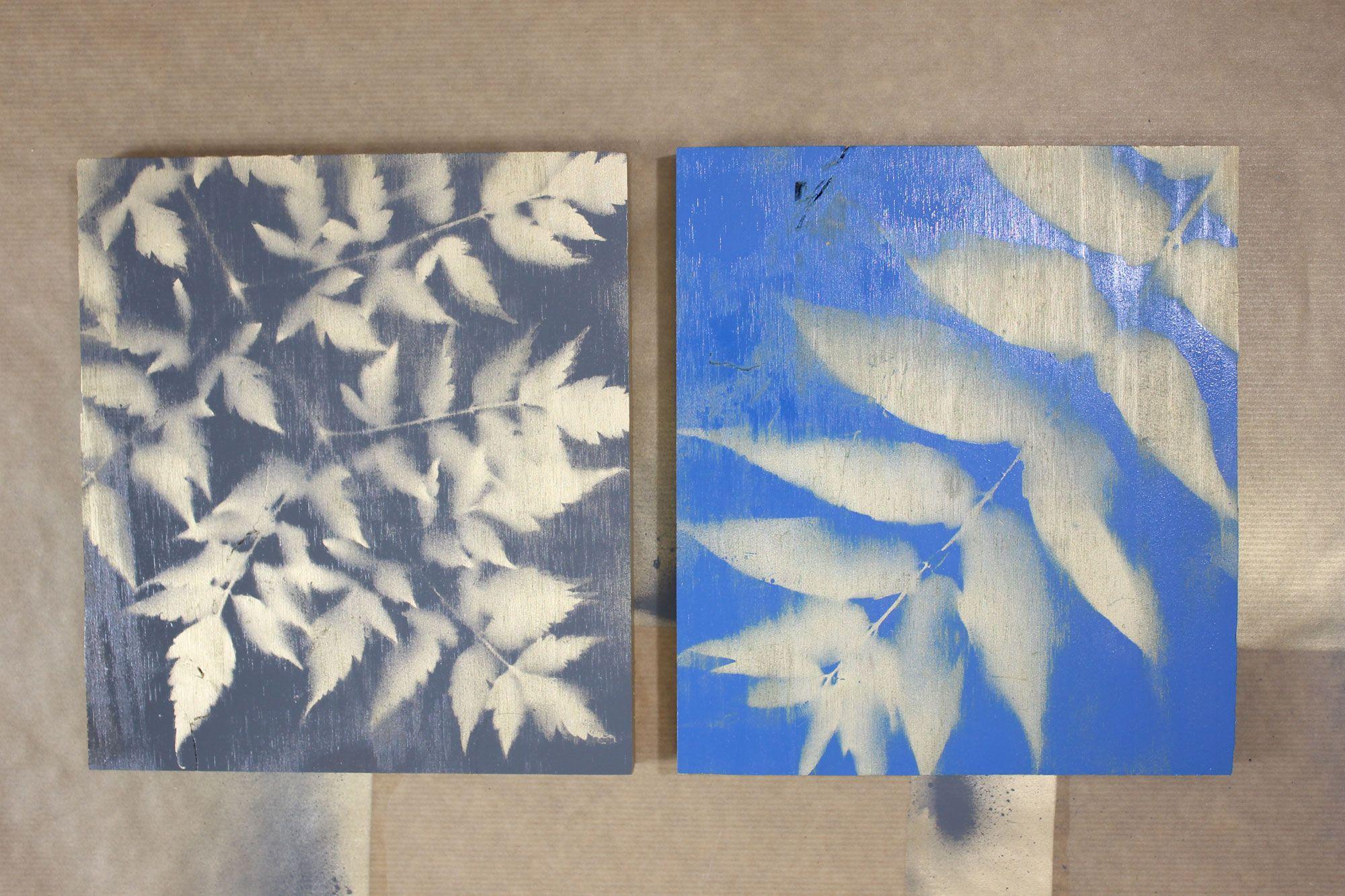 Hacer cuadros con hojas y pintura