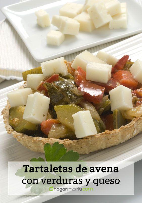 Tartaletas de avena con verduras y queso