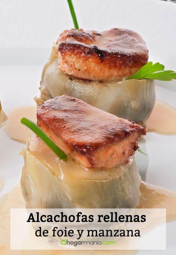 Receta de Alcachofas rellenas de foie y manzana