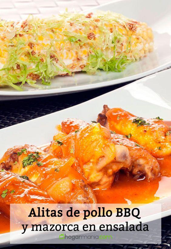 Receta de Alitas de pollo BBQ y mazorca en ensalada