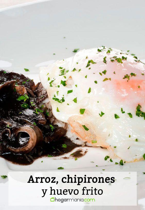 Receta de Arroz, chipirones y huevo frito