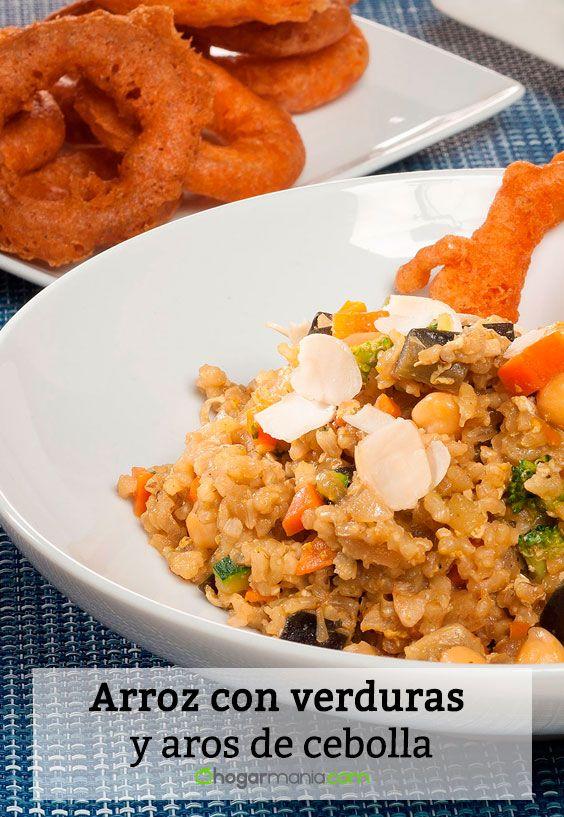 Receta de Arroz con verduras y aros de cebolla
