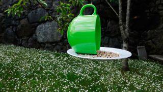 Comedero de pájaros con una taza