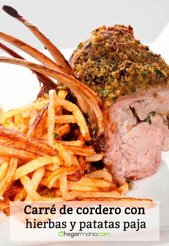 Receta de Carré de cordero con costra de hierbas y patatas paja