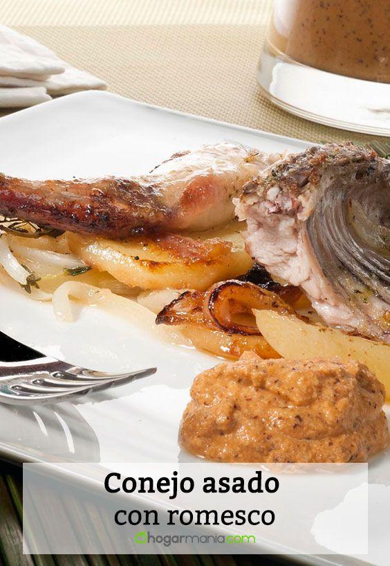Receta de Conejo asado con romesco