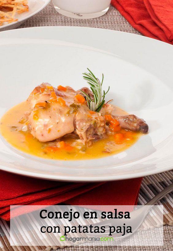 Receta de Conejo en salsa con patatas paja