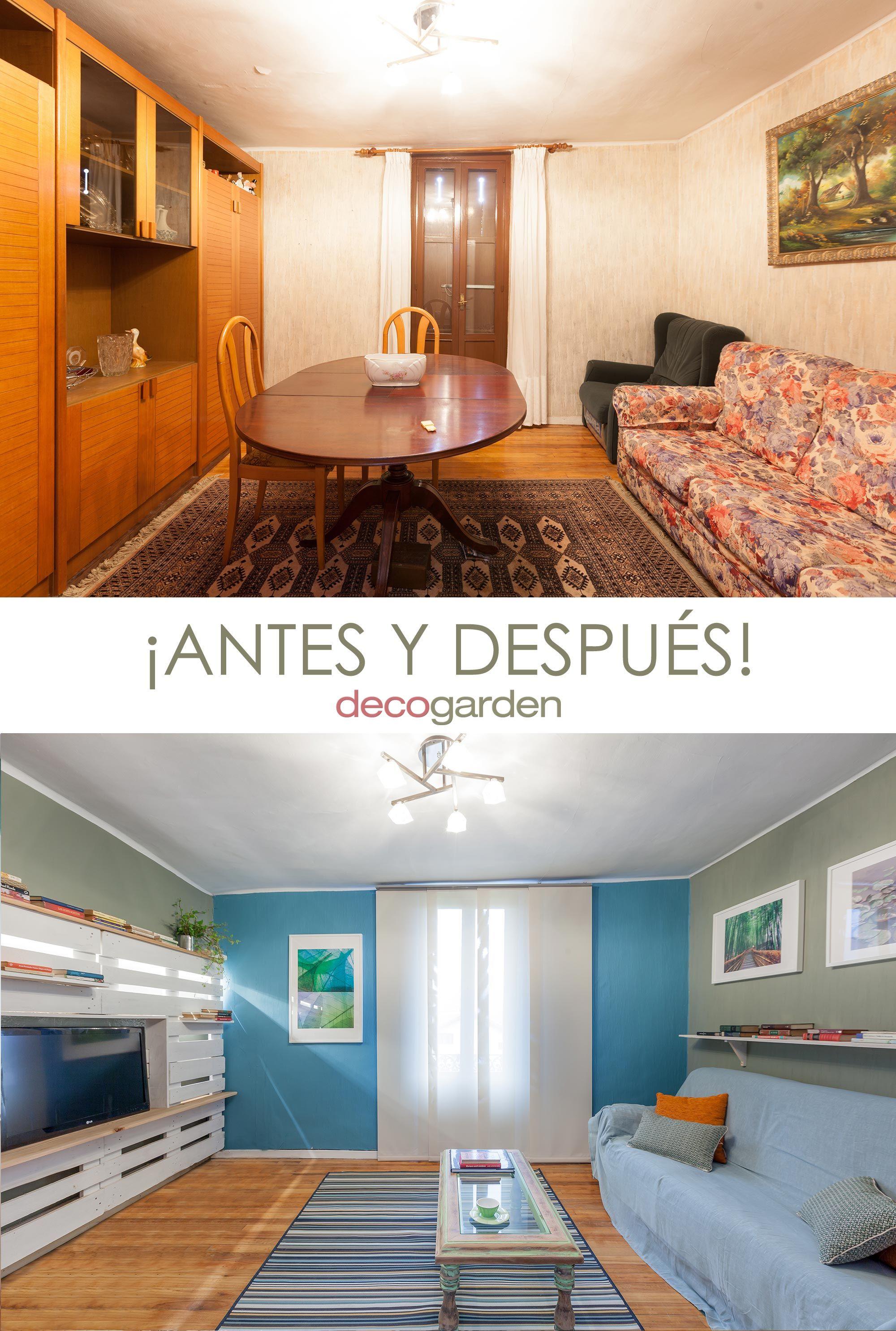 sala juvenil con mueble de palés - antes y después