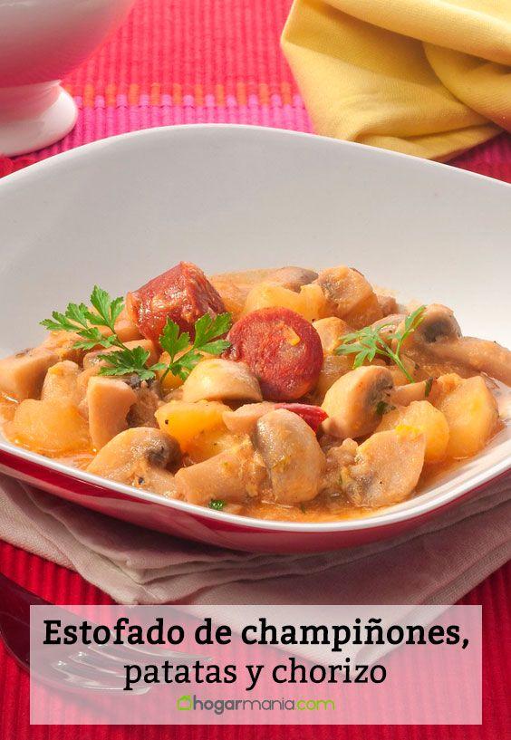 Receta de Estofado de champiñones, patatas y chorizo