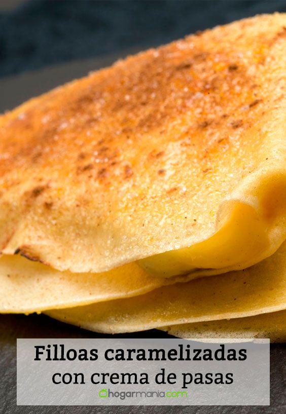Receta de Filloas caramelizadas con crema de pasas
