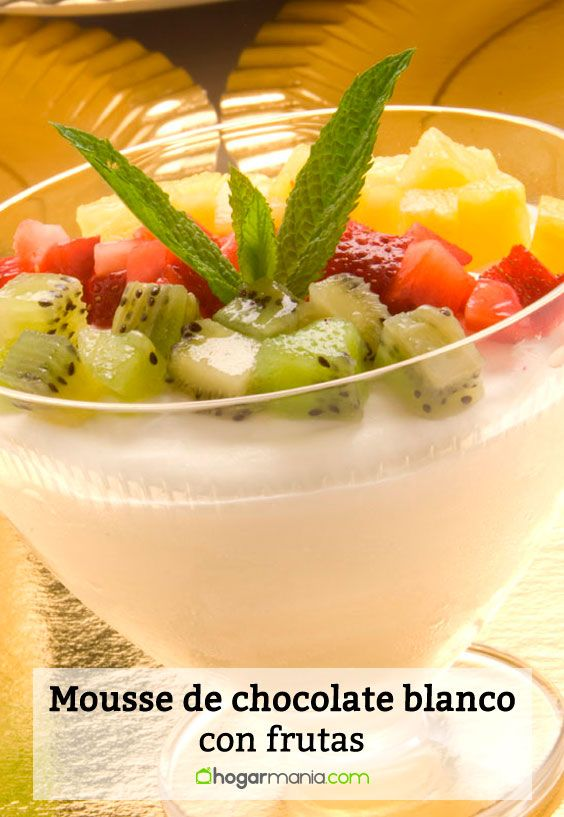 Mousse de chocolate blanco y frutas