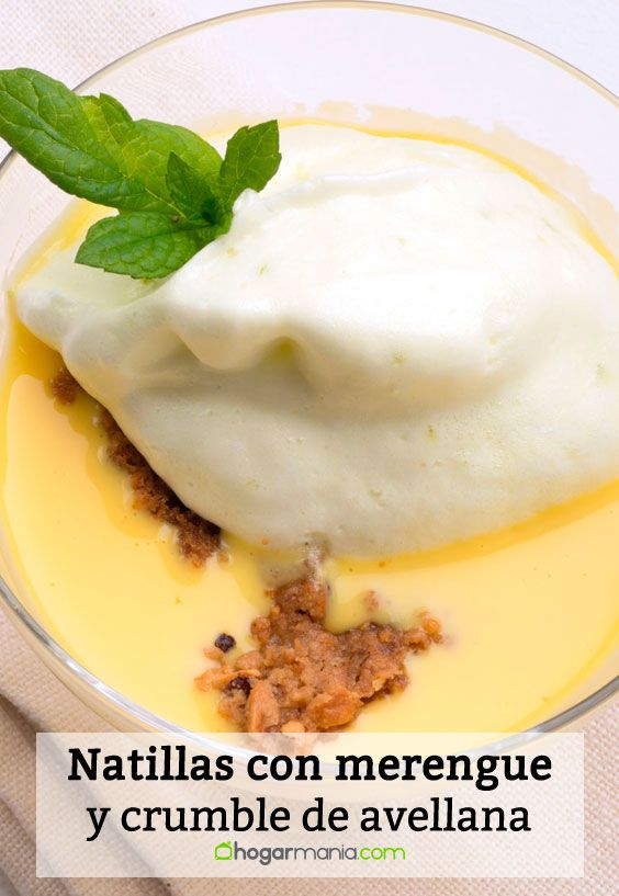 Natillas con merengue de lima y crumble de avellanas
