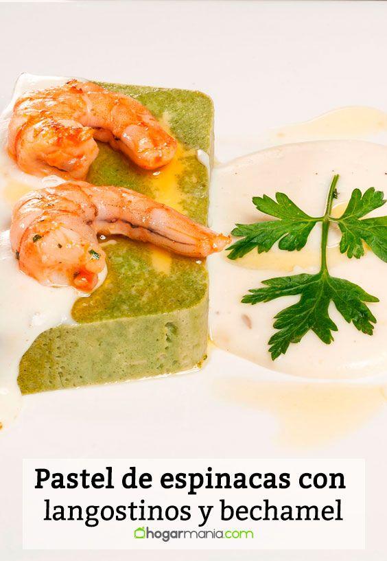 Receta de Pastel de espinacas con langostinos y bechamel