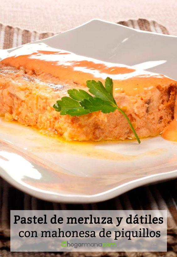 Receta de Pastel de merluza y dátiles con mahonesa de piquillos