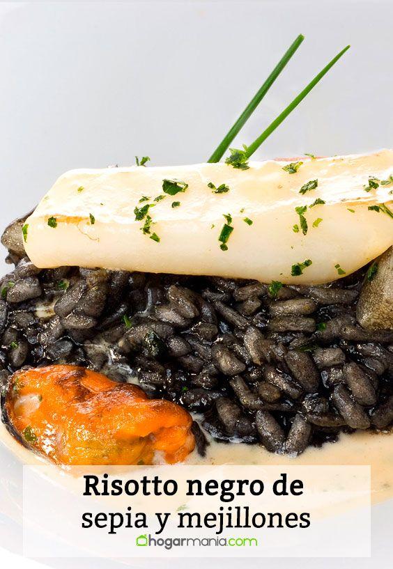 Receta de Risotto negro de sepia y mejillones